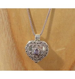 Keepsake locket heart amethyst