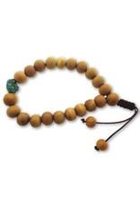 Dakini Mala armband van sandelhout met turquoise