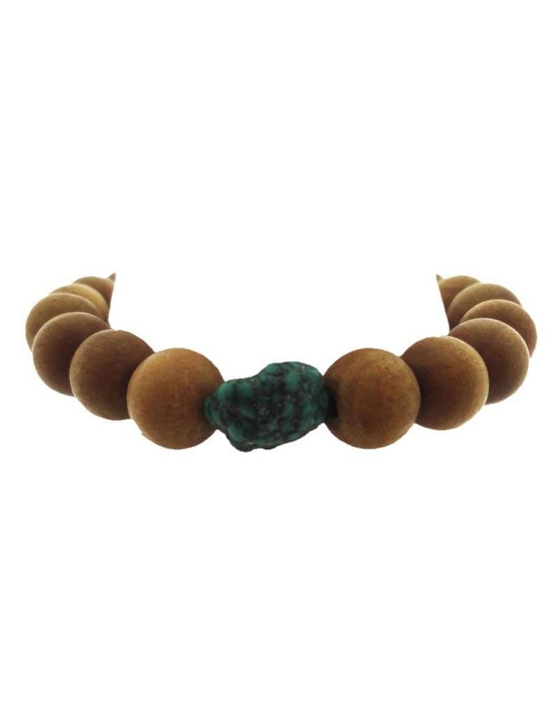 Dakini Mala bracelet of sandalwood with turquoise