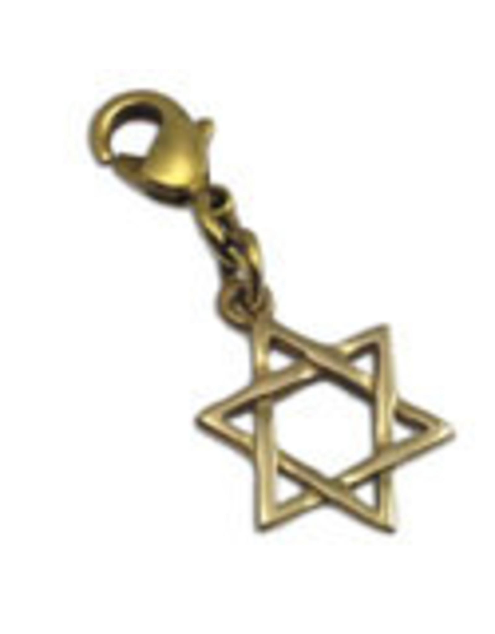 Shanti charm Star of David recycled brass
