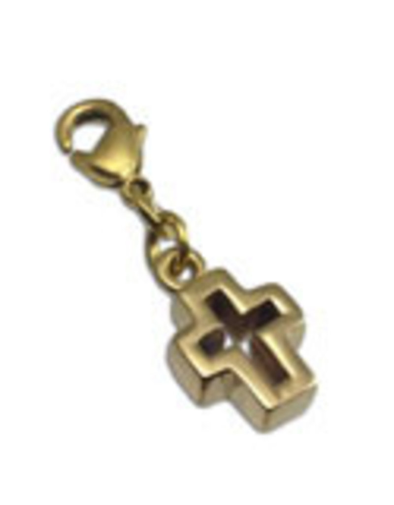 Shanti charm cross recycled brass