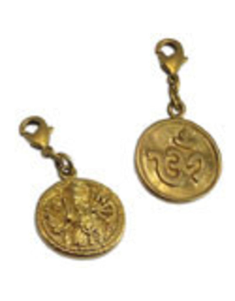 Shanti charm Ganesha & Ohm recycled brass