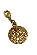 Shanti charm mantra Om mani padme hum recycled brass