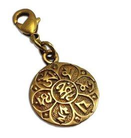Shanti charm mantra Om mani padme hum brass