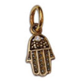 Shanti pendant Hamsa zirconia brass