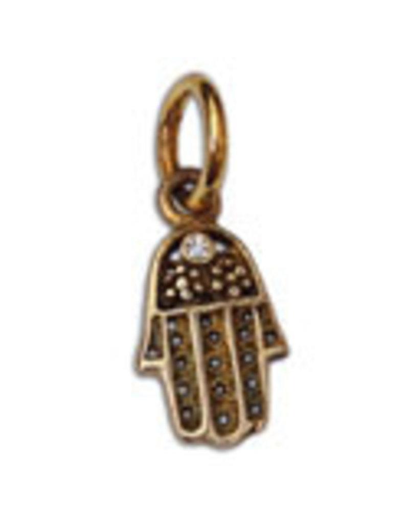 Shanti pendant Hamsa zirconia recycled brass