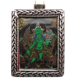Dakini silver mini thangka pendant Green Tara