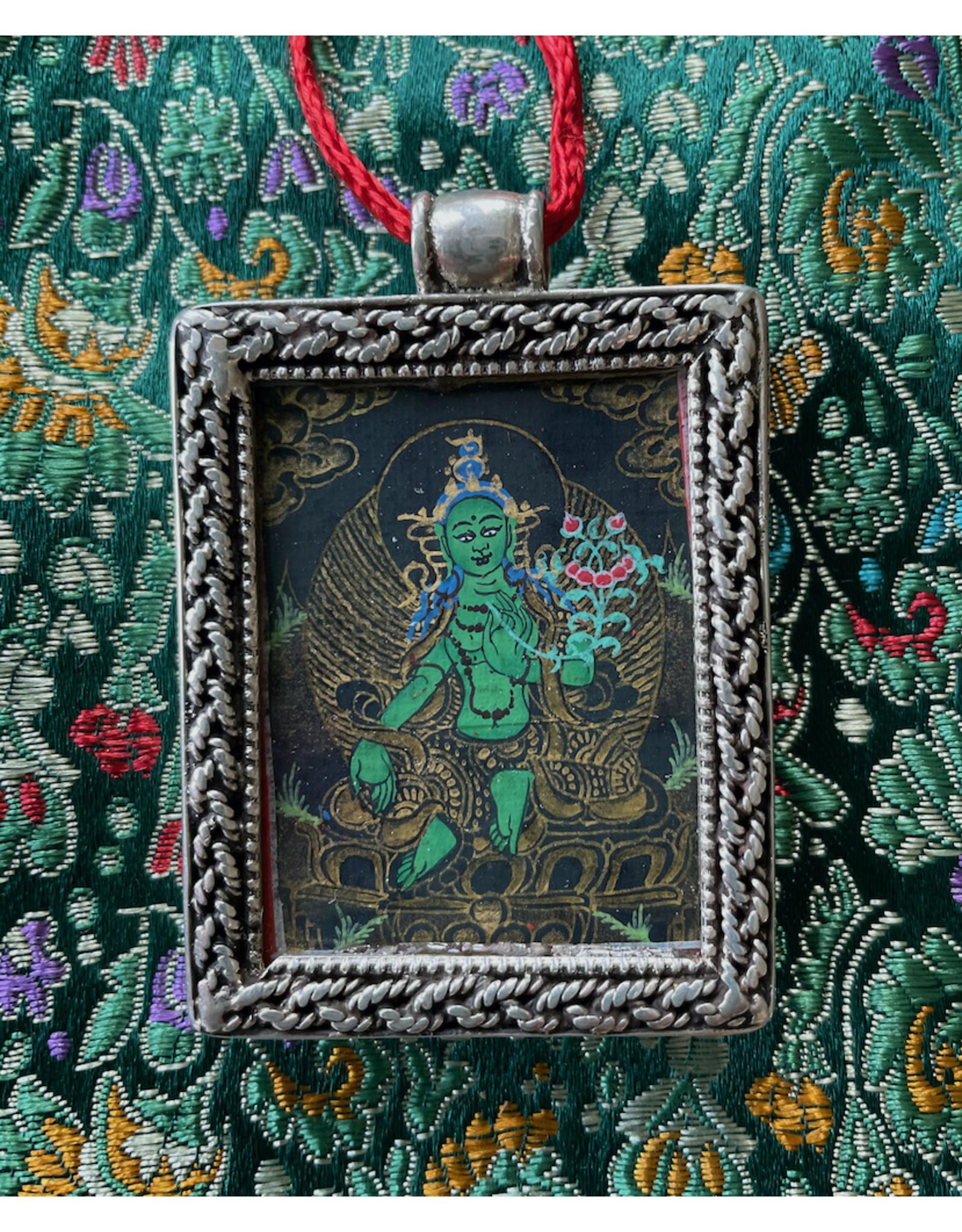 Dakini zilveren thangka hanger Groene Tara