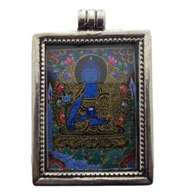 Dakini zilveren mini thangka hanger Medicijn Boeddha