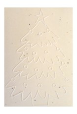 Cotton growing paper christmas card with tree & star