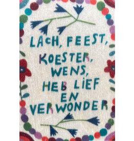 ZintenZ houten magneet Lach, feest, koester...