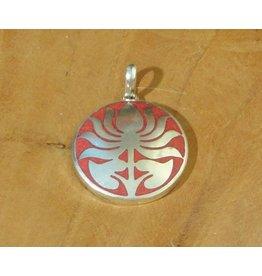 Dakini Tibetan pendant lotus red