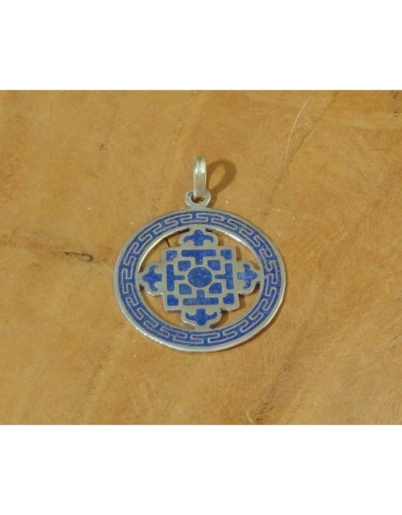 Dakini Tibetan pendant mandala blue