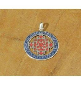 Dakini Tibetan pendant mandala blue red