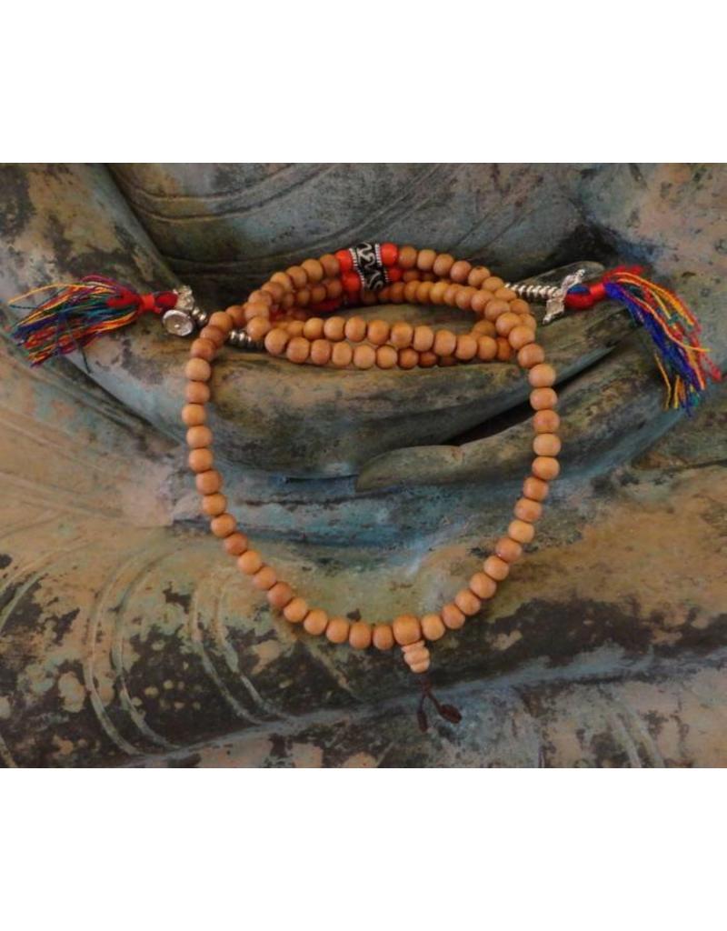 Dakini Mala van rozenhout en Ohm kralen met tellers