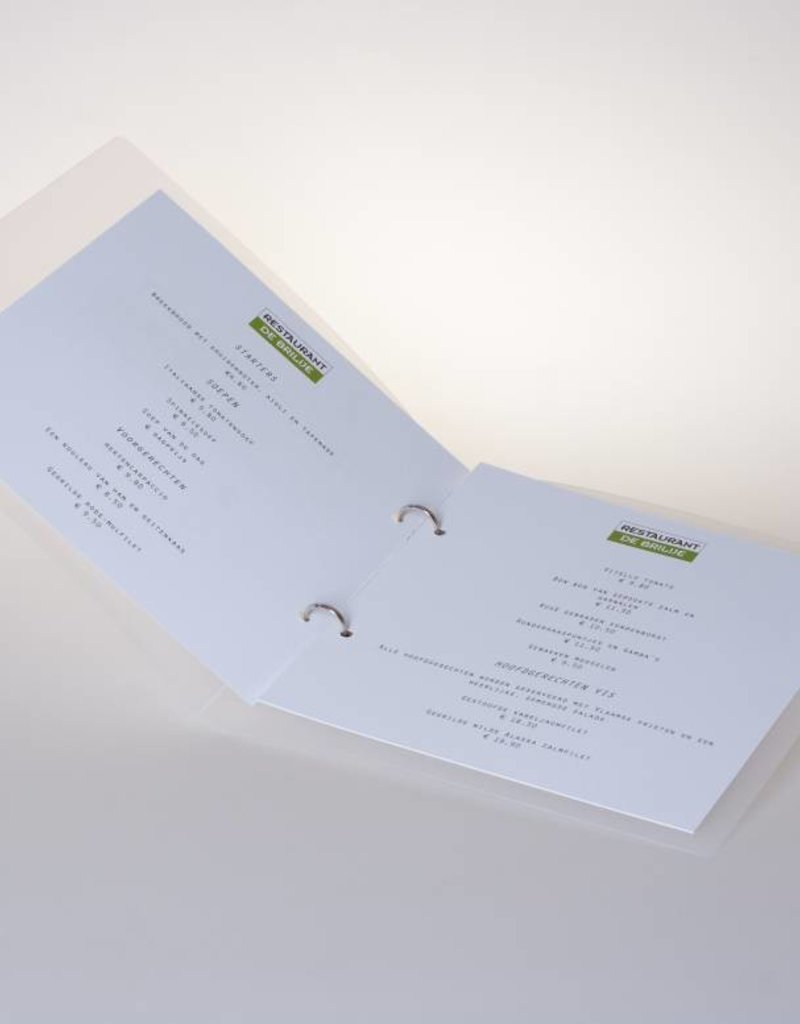 Vierkante menu-map transparant.