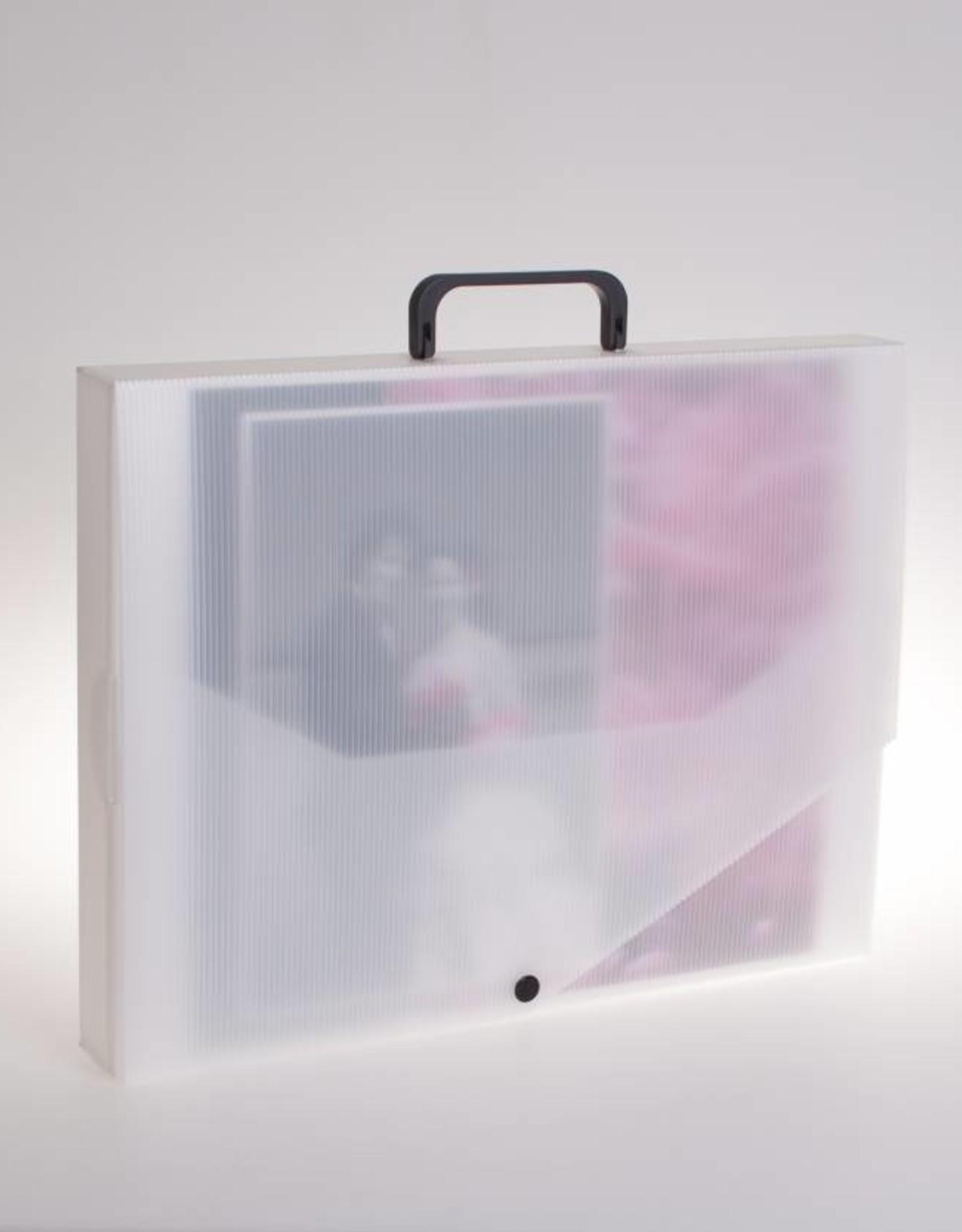 Koffer A3 met drukknoop(transparant)