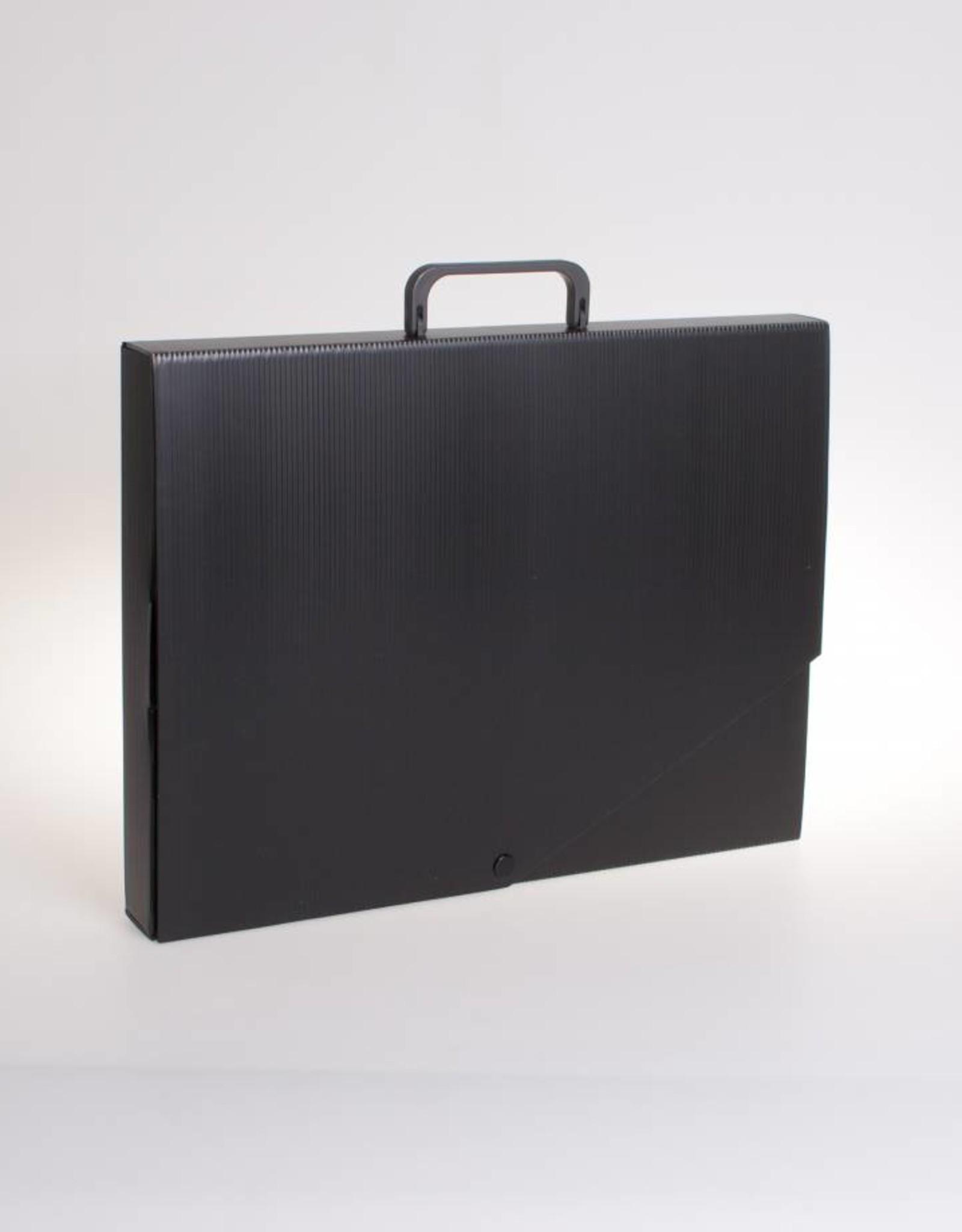 Koffer A3 met drukknoop (zwart)