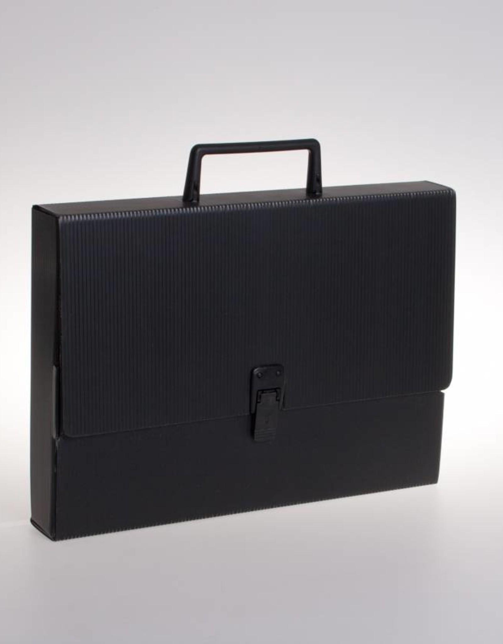 Koffer met slot en greep (zwart)