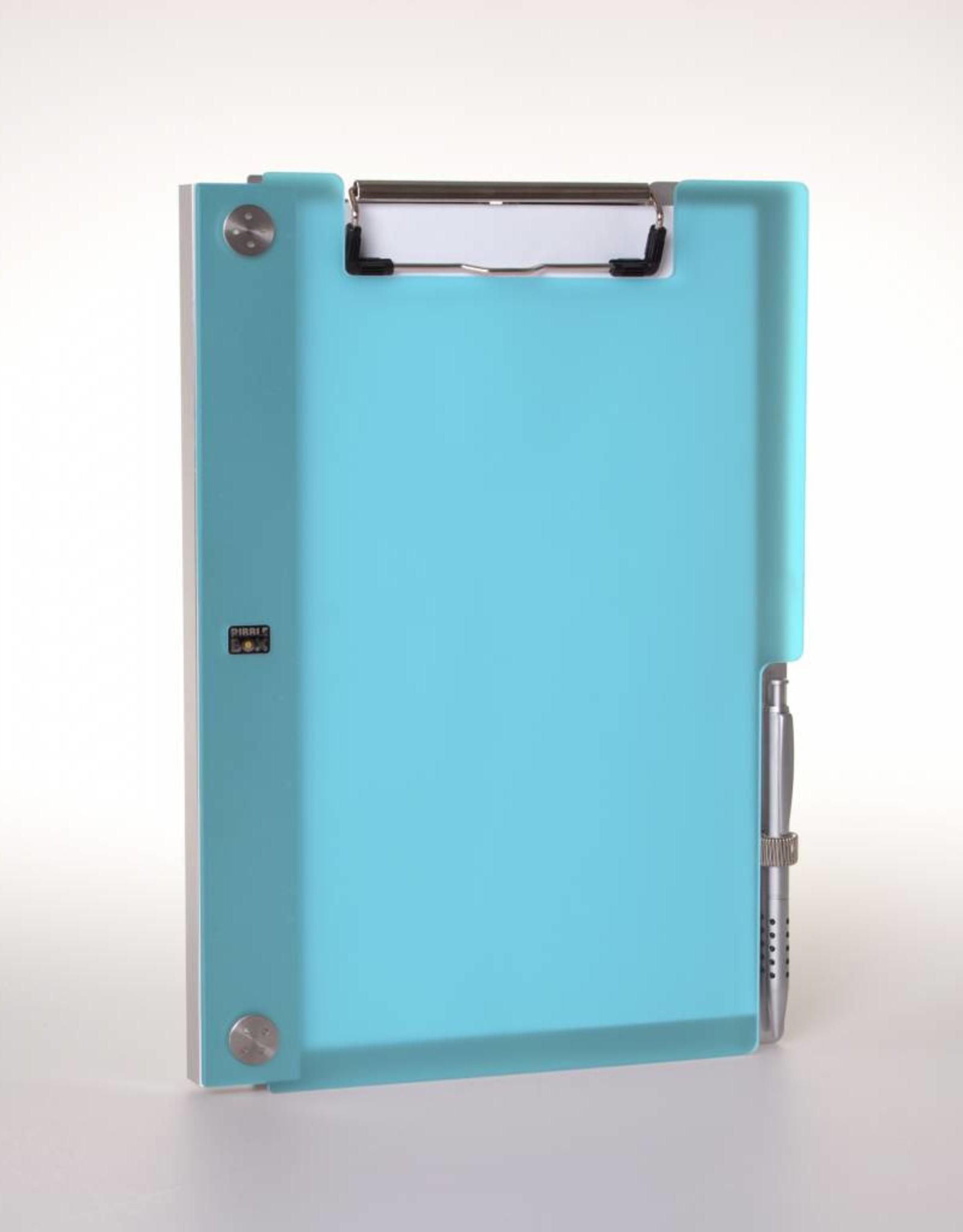 Klemmap ALBANO Frost-Aqua met penhouder.