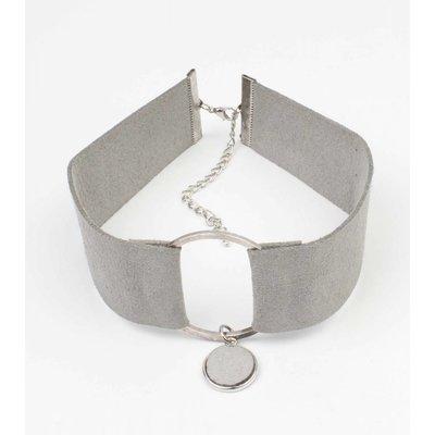 Choker suedine met ring grijs (318065)
