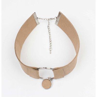 Choker suedine met ring taupe (318065)