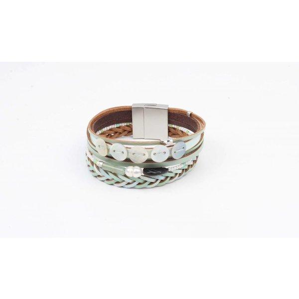 Armband leder met schelp mint  (327830)
