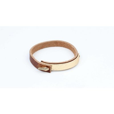 Armband bangle metaal/leder mat goud (327833)