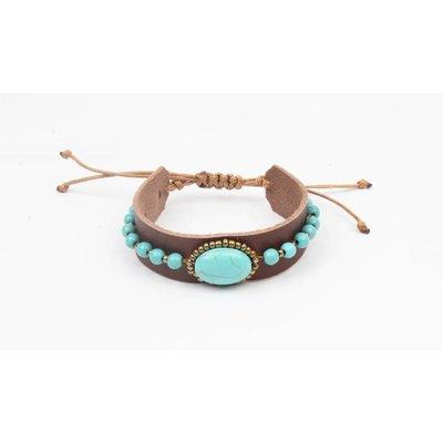 Armband leder met blauwe turquoise steen (327834)
