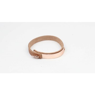 Armband bangle metaal/leder mat rosé (327833)