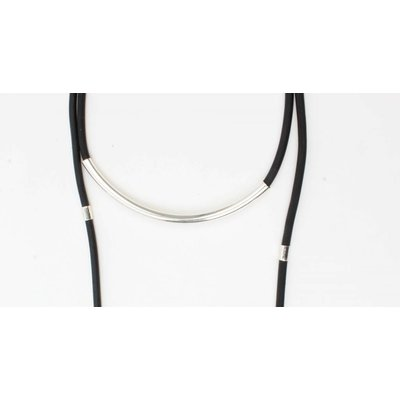 Ketting rubber 'metaal buis' zwart (318087)