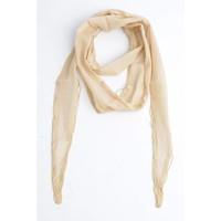 Skinny sjaal met rondom kralen, beige