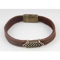 Bracelet leather Aztec Brown-brass