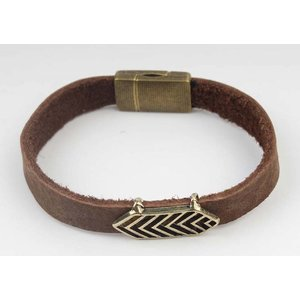 Armband leder Aztec bruin -brass