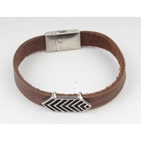 Aztec Brown Leather Bracelet-silver