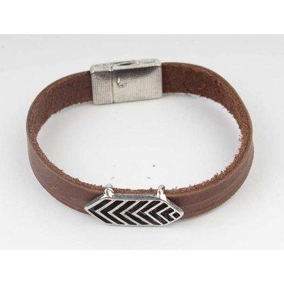 Aztec braun Leder Armband-Silber (327805)