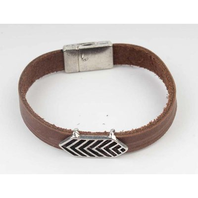 Aztec Brown Leather Bracelet-silver (327805)