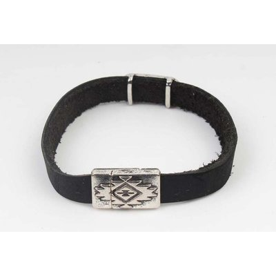 Armband leder Aztec zwart-zilver (327805)