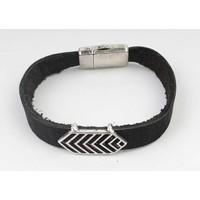 Armband leder Aztec zwart-zilver