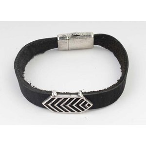 Bracelet leather Aztec black-silver