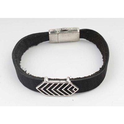 Armband Leder Aztec Schwarz-Silber (327805)