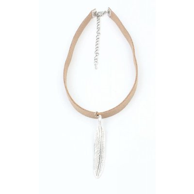 Choker with long spring old silver taupe (318091)