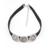 Schwarzes Halsband mit drei Metall-Münzen (318095)