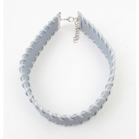 Choker with stitching pastel blue