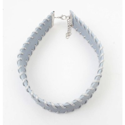 Choker with stitching pastel blue (318098)