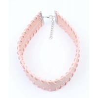 Choker with stitching pastel rose