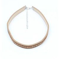 Choker with twisted stitching Brown