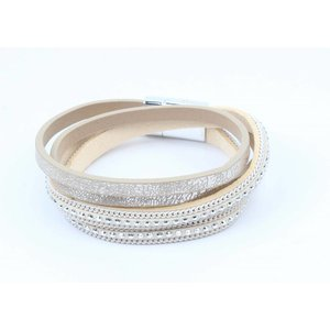 Wrap bracelet with silver studs taupe