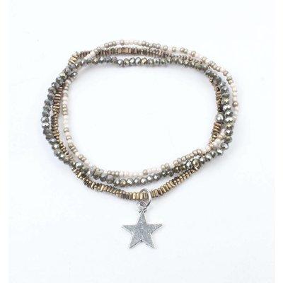 "Armband 3-rij ""Star"" hematiet kakhi (327821)"