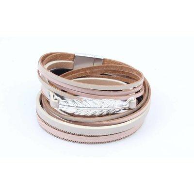 Armband Leder mit rosa Feder wickeln (327828)